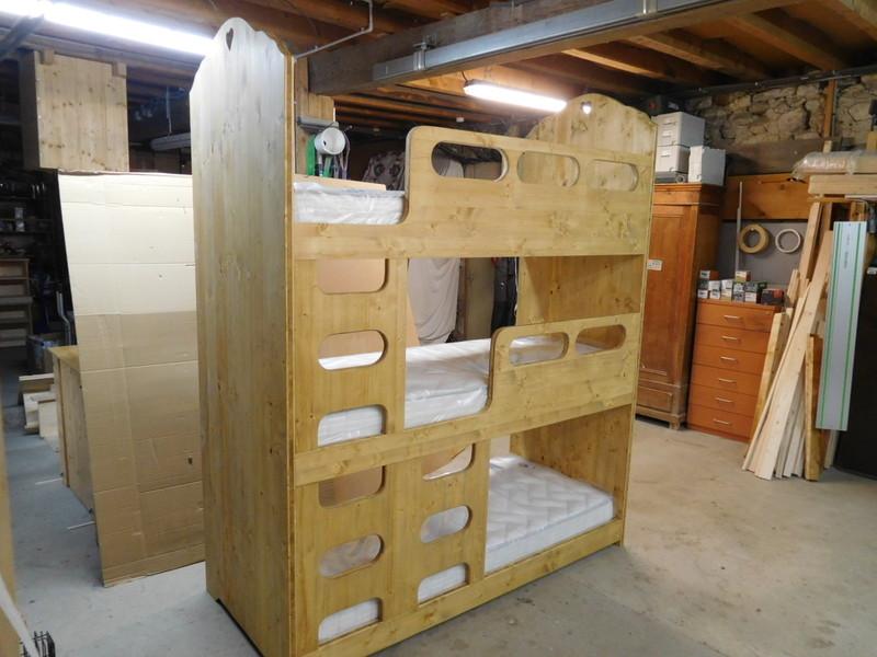 lit superpos 3 places style montagne coeur vercors literie. Black Bedroom Furniture Sets. Home Design Ideas